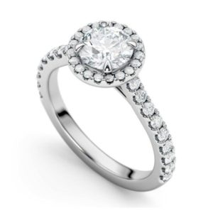 halo cut engagement ring made in montreal - RD928