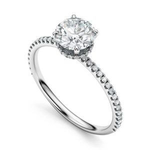 Solitaire Setting Round Cut Diamond Engagement Ring handmade in Montreal