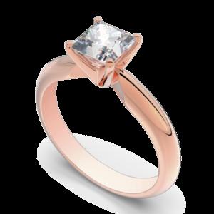 princess cut rose gold engagement ring handmade in Montreal